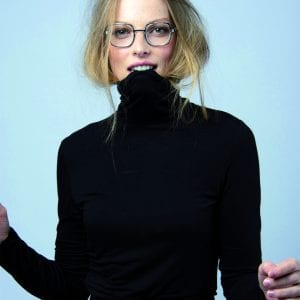 Woman wearing square JF Rey Glasses