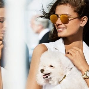 Woman with dog Michael Kors Glasses