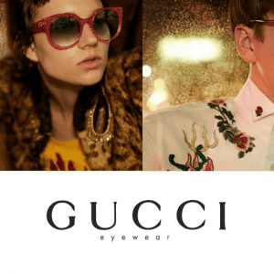 Mens and womens' gucci glasses campaign
