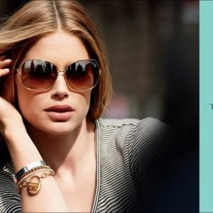 A woman wearing Tiffany and co glasses in the latest campaign