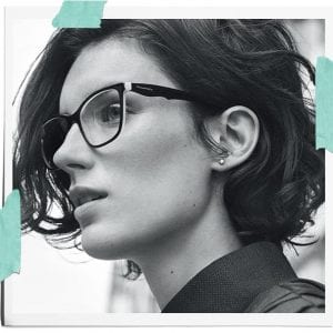 A woman wearing Tiffany and co glasses in a campaign