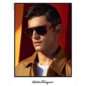 Male models wears salvatore ferragamo glasses