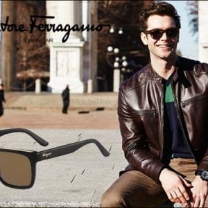 A young man wearing salvatore ferragamo glasses