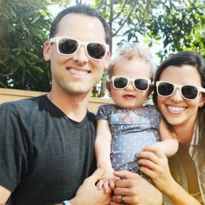 young family wearing Roshambo Glasses