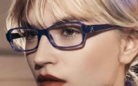 close up image of woman wearing emporio armani glasses